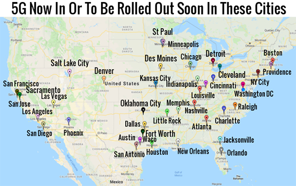 Map shows the cities where deadly 5G cell towers are being rolled out… do you live in one of these? 5g-now-in-or-to-be-rolled-out-soon-in-these-cities