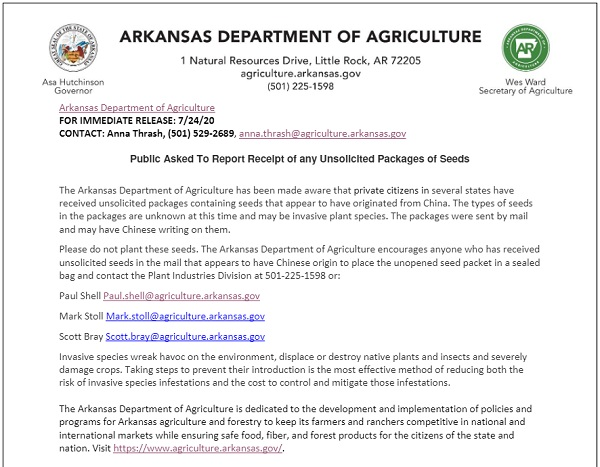 UPDATE - Mysterious seed packets from China sent to dozens of people in 3 states, officials say Arkansas-dept-of-agriculture-seeds