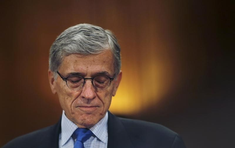 Federal Communications Commission (FCC) Chairman Tom Wheeler arrives to testify before a Senate Appropriations Subcommittee hearing on FCC's proposed budget for 2016, in Washington, May 12, 2015. REUTERS/Carlos Barria