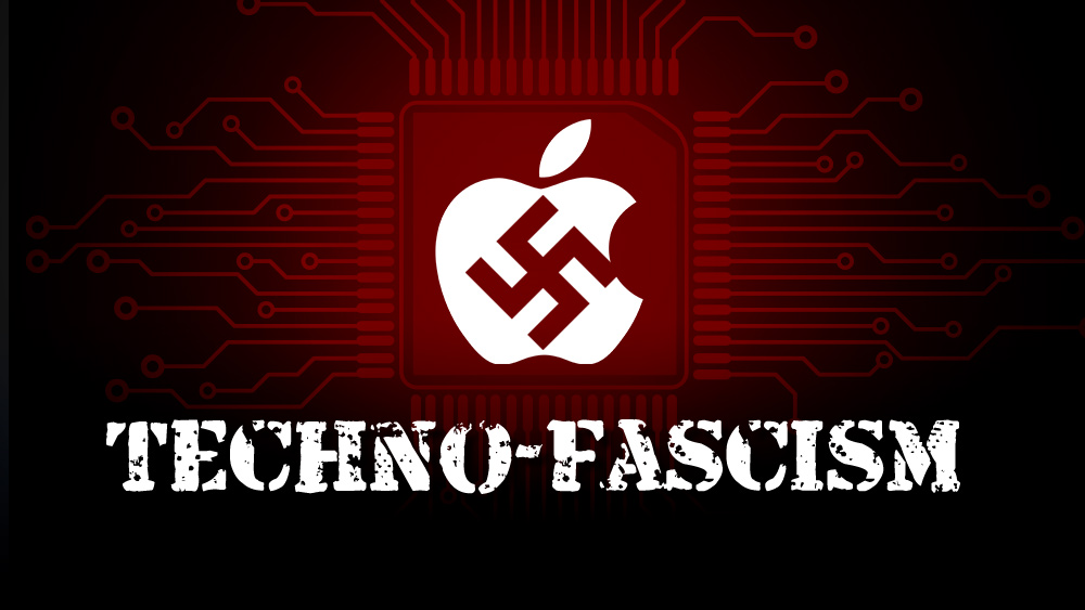 "Big Tech just seized monopoly control over all information, knowledge and ""news"" Apple-Logo-Techno-Fascism"
